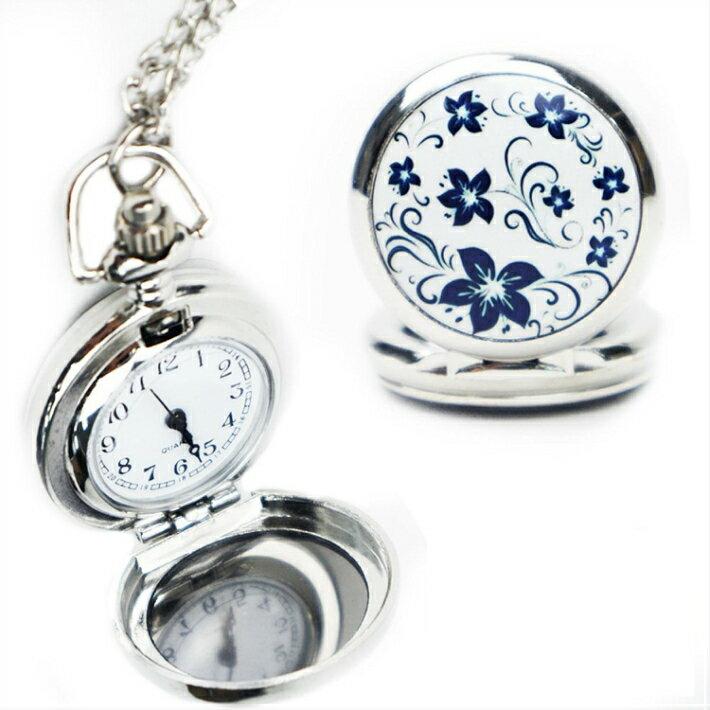 HTS ネックレス 時計 ペンダント 花柄 懐中時計 かわいい お出かけ ファッション