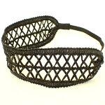 編み上げ模様のブラックヘアバンド(カチューム)