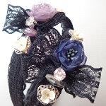 ブラックレースとお花のカチューシャ