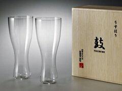 うすはり ビアグラス 松徳 ガラスうすはり ビアグラス セット 鼓 木箱2P 松徳 ガラス