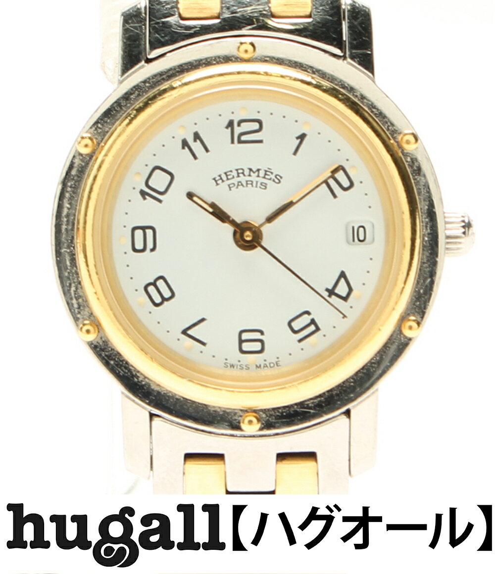 エルメス クリッパー コンビ デイト CL4 220 SS クォーツ ホワイト文字盤 腕時計 HERMES レディース 【中古】:ハグオール【BOOKOFF Group】