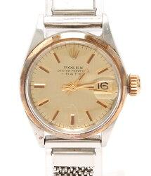 ロレックスオイスターパーペチュアルデイト6516自動巻き腕時計ゴールドROLEXレディース【】