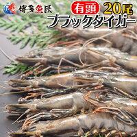 有頭ブラックタイガーエビ(20尾)冷凍海老 海産物 海鮮 おせち 送料別