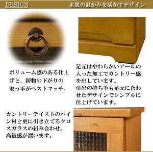 天然木パイン材のカントリー調オープンキャビネット幅60cmSA-0015ハイタイプキャビネット幅60cm木製リビング収納衣類収納タンス洋ダンス箪笥