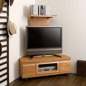 【送料無料】バックパネル付きコーナーテレビ台ナチュラル幅100cm/キャスター付きコーナーTVボード木製TV台