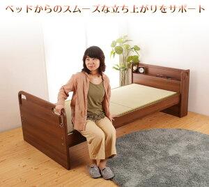 畳ベッドシングル立ち上がりが楽な畳ベッド木製床面高さ5段階調節棚付電気コンセント付天然い草たたみマットすのこベッドフレームのみ桐スノコ持ち手ベッド下収納
