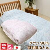 羽毛肌掛ふとんシングル昭和西川ダウン90%日本製(DH9308)ウォッシャブル洗える0.3Kg入り