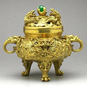 皇帝の位を表す最上の九龍が施された風水香炉☆威風堂々です。銅製 風水九頭龍香炉(小)【ポイ...