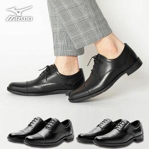 疲れない ビジネスシューズ ミズノ 本革 走れる 革靴 メンズ MIZUNO EXLIGHT エクスライト [ スニーカー レザー 歩きやすい 紐 靴ひも 軽量 ブラック 黒 28cm 大きいサイズ スーツ オフィス 営業 立ち仕事 靴 スニーカー 2足 長時間 3E ワイド ミズノウェーブ お受験 父親 ]