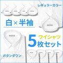 半袖ワイシャツ 5枚 セット ボタンダウン レギュラーカラー ワイシャツ 半袖 Yシャツ 形態安定 メンズ ビジネス 白シャツ ホワイト 無地 シンプル クールビズ 制服 カッターシャツ ユニフォーム S M L LL 3L プレゼント カッターシャツ