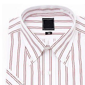 [在庫限り大感謝売り尽くしSALE] 上質綿混 ボタンダウン 半袖ワイシャツ Yシャツ 半袖 ワイシャツ 形態安定 メンズ ビジネス レッド 白 ストライプ クールビズ 大きいサイズ 制服 カッターシャツ ドレスシャツ S M L LL 3L プレゼント ユニフォーム おしゃれ 人気