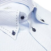 デザイン ワイシャツ ビジネス ステッチ チェック カッターシャツ