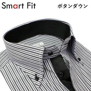 スマート フィット ワイシャツ ヒューズ ビジネス カッターシャツ ストライプ