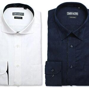 【送料無料】迷彩柄ワイシャツメンズシャツNEWSCREATIONワイシャツ迷彩柄メンズシャツメンズ/DANW72[紳士用/長袖/スリム/コットン/ホリゾンタル/カッタウェイ/迷彩/白/紺/おしゃれ/カモフラージュ]