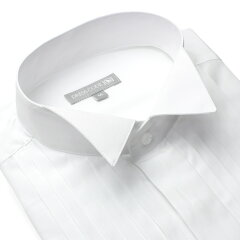 ウイングカラーシャツ ドレスシャツ 長袖 ワイシャツ 白 フォーマル Yシャツ メンズ[ウイングカ...