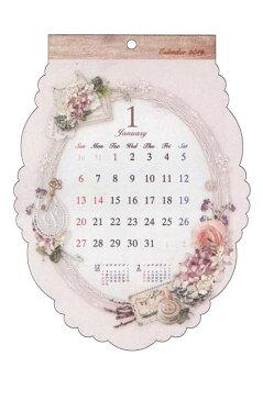 カレンダー2019壁掛けダイカットアンティークガーリー