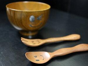 子供用スプーンフォークウインクスマイル天然木製