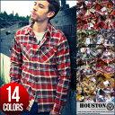 HOUSTON ヒューストン 厚手 ネルシャツ メンズ カジュアルシャツ シャツジャケット 40108【あす楽対応】【H-SH】■04151006【170701s】