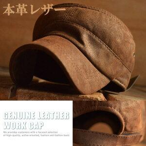 本革 レザー ワークキャップ ミリタリー 帽子 メンズ 7998637【ALI】■05160914