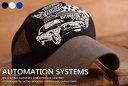 送料無料 AUTOMATION SYSTEMS メッシュキャップ キャップ 帽子 メンズ レディース ツバ長め アメカジ Vintage VCR-050【GRI】■180226