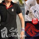 EallyAmericansポロシャツメンズ鹿の子半袖アメカジ刺繍837-30ブラック/黒ホワイト/白ネイビー/紺