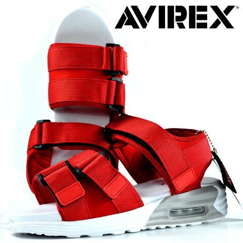 AVIREX スポーツサンダル メンズ AV4540 HUDSON 靴 シューズ アビレックス アヴィレックス スポサン 軽量 エアソール マジックテープ レジャー 旅行 AV4540 HUDSON ハドソン レッド 190710