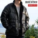 【買わなきゃ損!】ダウンジャケットメンズ本革レザーHOUSTONヒューストンブランド上着アウター厚手暖かい羊革ラムレザーダウン80%フェザー20%8179ブラック黒yos191103