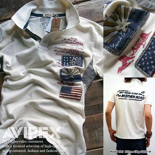アビレックス ポロシャツ メンズ ミリタリー AVIREX 通販 メンズファッション トップスオフホワイ...