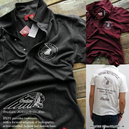 Indian Motocycle インディアンモトサイクル ポロシャツ メンズファッション アメカジ トップスIC-...