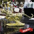 【送料無料】ヒョウ置物オブジェ動物ゴールド(M)【レオパード豹ひょうパンサー金色雑貨父の日ギフト金アニマルインテリア輸入雑貨贈り物】