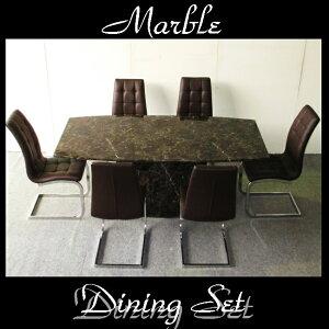 大理石 ダイニングテーブルセット 6人掛け 7点 180 ブラウン マーブル チェア ハイバック 6脚ダイニングテーブル 7点セット 大理石テーブル ダイニングセット 応接セット