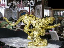 【送料無料】ヒョウ置物オブジェ動物ゴールド112cm【レオパード豹ひょうパンサー金色雑貨父の日ギフト金アニマルインテリア輸入雑貨贈り物】