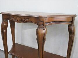 アンティークコンソールテーブル象嵌木製ブラウンガリンベルティイタリア製送料無料ラウンドコンソールテーブルクラシックヨーロピアンアンティーク風猫脚おしゃれ