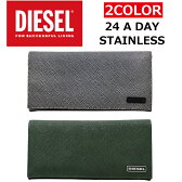 DIESEL/ディーゼルX03340 P0517/STAINLESS 24 A DAY二つ折り/長札/長財布/メンズ/レディース プレゼント/ギフト/通勤/通学