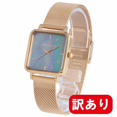 条件付きでMAX1,000OFFクーポン配布中!【訳あり】【アウトレット】【BOXなし】melissapetit / メリッサプティ MPGT102 レディース スクエア 四角 シェル ローズゴールド メッシュベルト 腕時計