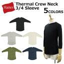 Hanes ヘインズ Thermal Crew Neck 3/4 Sleeve T-Shirt サーマル クルーネック スリーブ Tシャツ3/4袖 メンズ Hm4n504プレゼント ギフト 通勤 通学