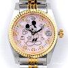 ミッキー時計85周年記念天然ダイヤ10石ウォッチピンク