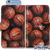 スポルディングバスケットボールスマートフォンケース手帳型アルティメイトブラウンSPALDING11-002BR