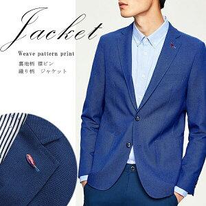 折柄メンズテーラードジャケットブルー