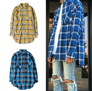 メンズファッション通販ロング丈チェック柄長袖シャツネルシャツメンズチェックシャツストリートメンズファッションイエローブルー