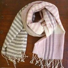 草木染め・手織りコットンヘンプ・ストール・ボーダー・ピンク