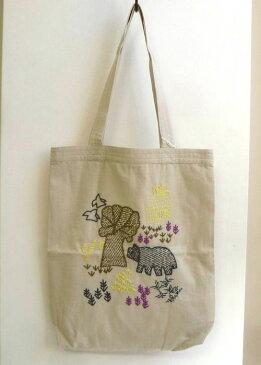 【People Tree】ピープルツリー ノスタルジック手刺繍 トートバッグ グレージュ系 [フェアトレード]