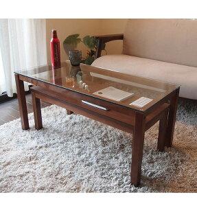 木製ネストテーブルウォールナットネストテーブルツインテーブルセンターテーブルローテーブルリビングテーブルガラステーブル2点セット北欧テーブル2台のテーブルを組み合わせて色々な使い方ができます。ネストテーブル[]