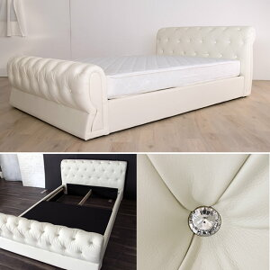 ハイバックレザーベッドセミダブル大人のモード感を演出する重厚感と存在感グラマラスなレザーベッドあしらわれたビジューの輝きがゴージャス。いつもの寝室を1アップ!スタンダードフィットポケットマットレスセット【大型家具便】