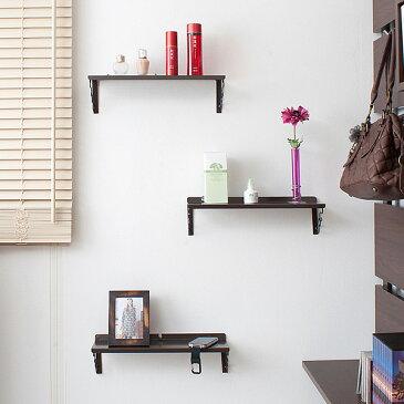 壁面棚 壁掛け飾り棚 3枚セット ダークブラウン色 幅40cm 「NJ-0319」【送料無料】 収納棚 押しピンで壁に自由に設置できる壁掛け棚 雑貨 ディスプレイラック 収納棚