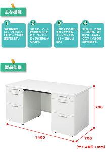 【送料無料/代引不可】両袖机幅1400mmPLUSのオフィスデスクSHシリーズ日本製簡単組立3段引出し幅140×奥行70×高さ70cm