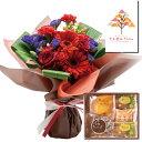 花とスイーツ ギフトセット かわいいレッド バラ ミックス花束 と フランスの香り漂うスイーツギフト写真入り・名入れメッセージカード 送料無料 送料込 (SE)
