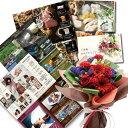 レッド バラ 花束 & 体験ギフト 選べる カタログギフト お祝い 花 ギフト メッセージ お祝い返し 結婚 レッド花束&体験ギフト・グルメ・グッズが選べ