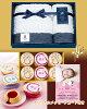 出産内祝い・お祝い返し名入れ贅沢プリン6個&コンテックスフェイス・ゲストタオルセット名前・写真入りカード付基本送料無料のし無料
