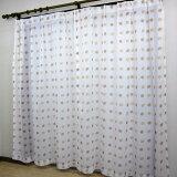 【 150×176cm(2枚組) 】 北欧風 かわいいリーフ ボイル レース カーテン (2枚入り)[葉 落ち着いた 2枚セット 掃き出し窓 大窓] あす楽